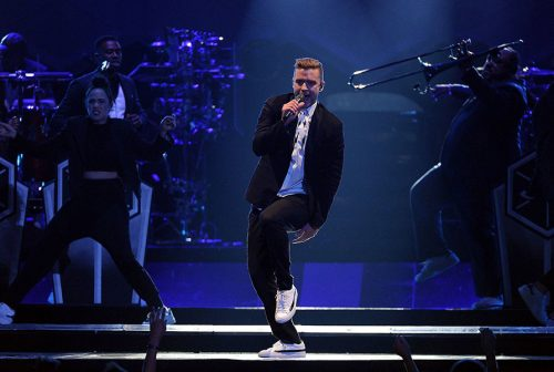 LOS ANGELES, CA - AUGUST 12: Musician Justin Timberlake performs on his 20/20 Experience World Tour at the Staples Center on August 12, 2014 in Los Angeles, California. (Photo by Frank Micelotta/PictureGroup)